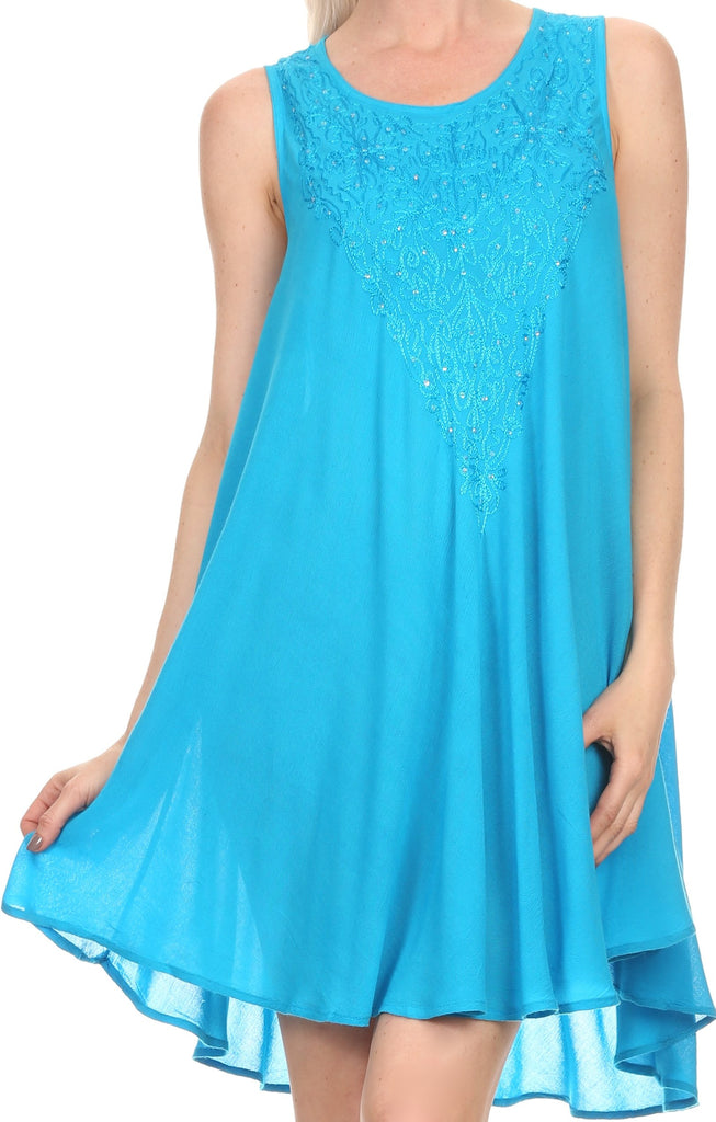 Sakkas Alechia Mid Length Tank Top Sleeveless Embroidered Caftan Dress / Cover Up