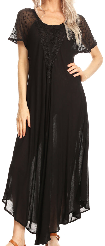 Sakkas Hayden Embroidered Lace-Up Caftan Dress / Cover Up with Eyelet Sleeves