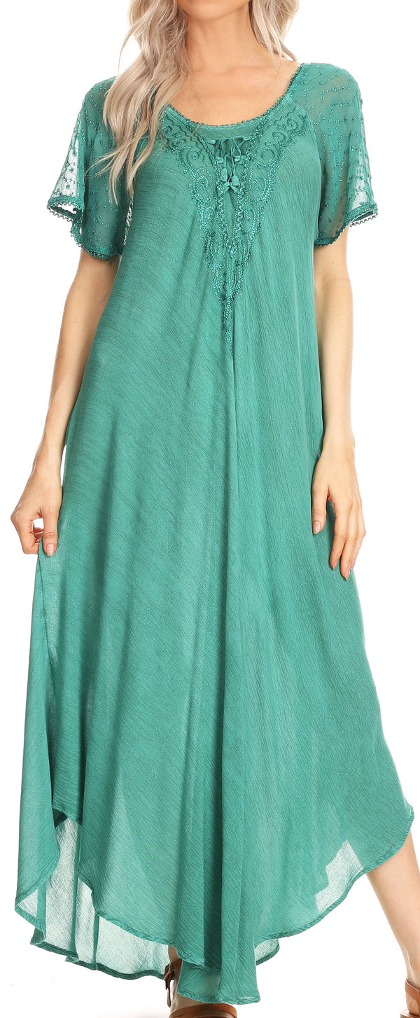 Sakkas Helena Embroidered Nightgown / Women Sleepwear with Eyelet Sleeves#color_Aqua