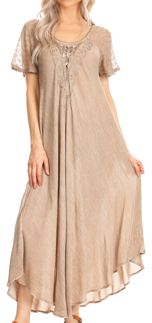 Sakkas Helena Embroidered Nightgown / Women Sleepwear with Eyelet Sleeves#color_Beige