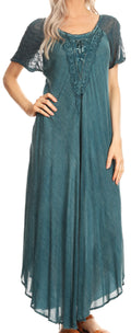 Sakkas Helena Embroidered Nightgown / Women Sleepwear with Eyelet Sleeves#color_Denim Blue