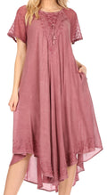 Sakkas Helena Embroidered Nightgown / Women Sleepwear with Eyelet Sleeves#color_Dusty Rose