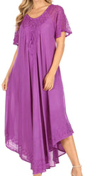 Sakkas Helena Embroidered Nightgown / Women Sleepwear with Eyelet Sleeves#color_Purple