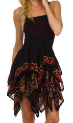 Sakkas Batik Handkerchief Hem Short Dress