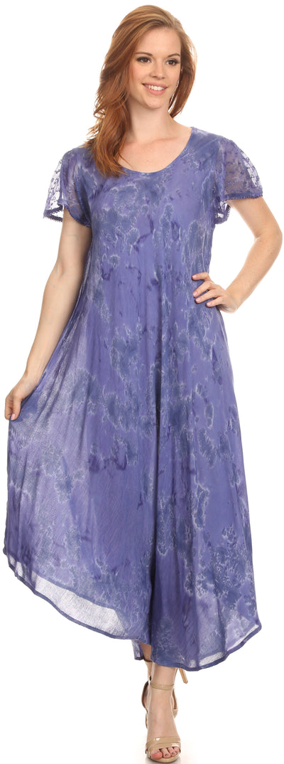 group-Dusty Blue (Sakkas Sayli Long Tie Dye Cap Sleeve Embroidered Wide Neck Caftan Dress / Cover Up)