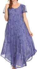 Sakkas Sayli Long Tie Dye Cap Sleeve Embroidered Wide Neck Caftan Dress / Cover Up#color_Dusty Blue