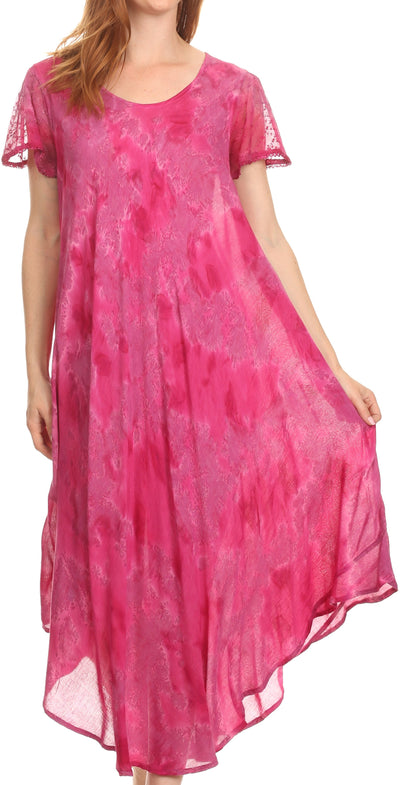 group-Fuchsia (Sakkas Sayli Long Tie Dye Cap Sleeve Embroidered Wide Neck Caftan Dress / Cover Up)