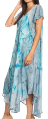 group-Grey / Blue (Sakkas Sayli Long Tie Dye Cap Sleeve Embroidered Wide Neck Caftan Dress / Cover Up)