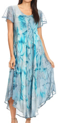 Sakkas Sayli Long Tie Dye Cap Sleeve Embroidered Wide Neck Caftan Dress / Cover Up#color_Grey / Blue