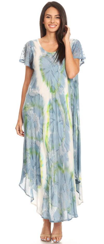 group-Grey / White (Sakkas Sayli Long Tie Dye Cap Sleeve Embroidered Wide Neck Caftan Dress / Cover Up)