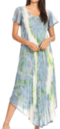 Sakkas Sayli Long Tie Dye Cap Sleeve Embroidered Wide Neck Caftan Dress / Cover Up#color_Grey / White
