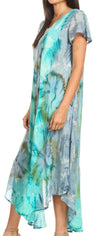group-Green / Grey (Sakkas Sayli Long Tie Dye Cap Sleeve Embroidered Wide Neck Caftan Dress / Cover Up)