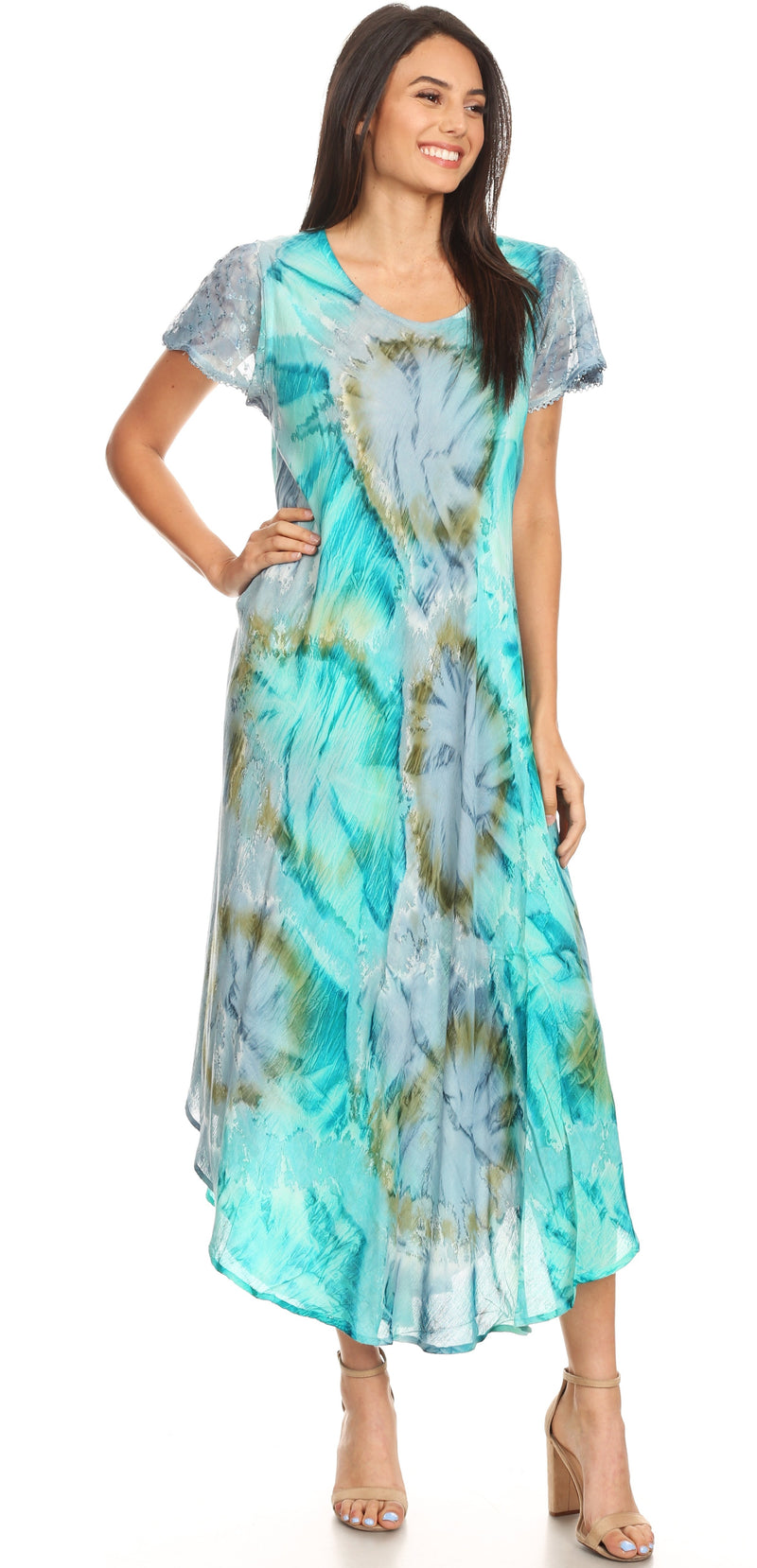 Sakkas Sayli Long Tie Dye Cap Sleeve Embroidered Wide Neck Caftan Dress / Cover Up