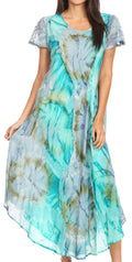 Sakkas Sayli Long Tie Dye Cap Sleeve Embroidered Wide Neck Caftan Dress / Cover Up#color_Green / Grey
