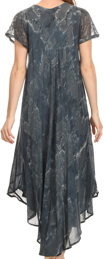 group-Ink Blue (Sakkas Sayli Long Tie Dye Cap Sleeve Embroidered Wide Neck Caftan Dress / Cover Up)