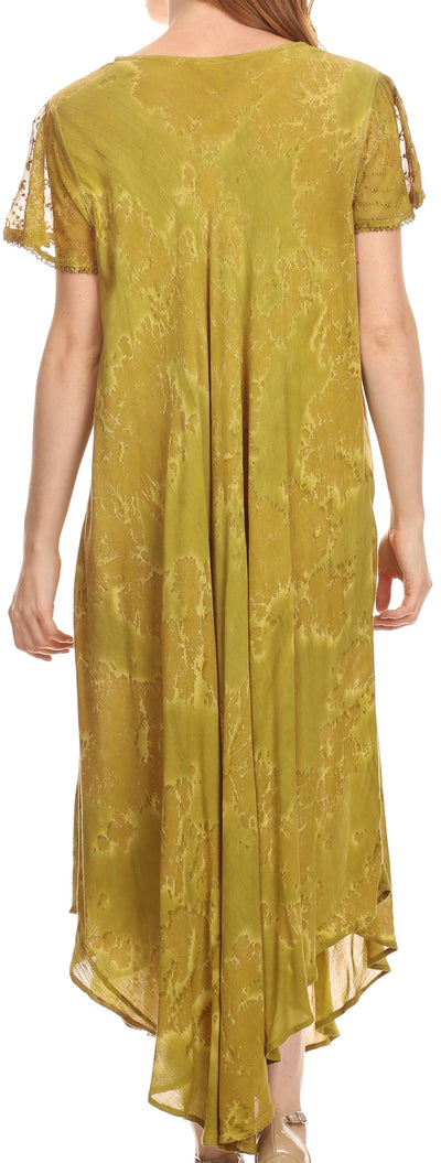 group-Olive (Sakkas Sayli Long Tie Dye Cap Sleeve Embroidered Wide Neck Caftan Dress / Cover Up)