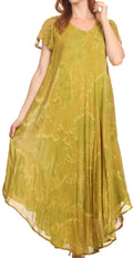 Sakkas Sayli Long Tie Dye Cap Sleeve Embroidered Wide Neck Caftan Dress / Cover Up#color_Olive