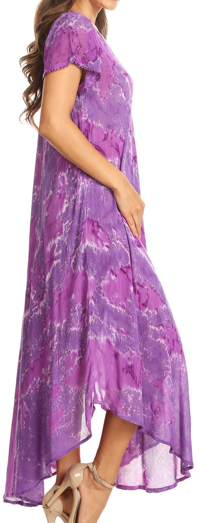 group-Purple (Sakkas Sayli Long Tie Dye Cap Sleeve Embroidered Wide Neck Caftan Dress / Cover Up)