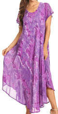 Sakkas Sayli Long Tie Dye Cap Sleeve Embroidered Wide Neck Caftan Dress / Cover Up#color_Purple
