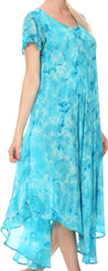 group-Turquoise (Sakkas Sayli Long Tie Dye Cap Sleeve Embroidered Wide Neck Caftan Dress / Cover Up)