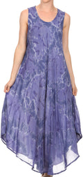 Sakkas Laeila Tie Dye Washed Tall Long Sleeveless Tank Top Caftan Dress / Cover Up#color_Dusty Blue