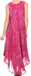 Sakkas Laeila Tie Dye Washed Tall Long Sleeveless Tank Top Caftan Dress / Cover Up