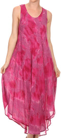 Sakkas Laeila Tie Dye Washed Tall Long Sleeveless Tank Top Caftan Dress / Cover Up#color_Fuchsia