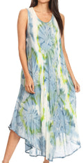 Sakkas Laeila Tie Dye Washed Tall Long Sleeveless Tank Top Caftan Dress / Cover Up#color_Grey / White