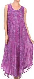 Sakkas Laeila Tie Dye Washed Tall Long Sleeveless Tank Top Caftan Dress / Cover Up#color_Purple
