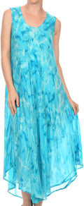 Sakkas Laeila Tie Dye Washed Tall Long Sleeveless Tank Top Caftan Dress / Cover Up#color_Turquoise