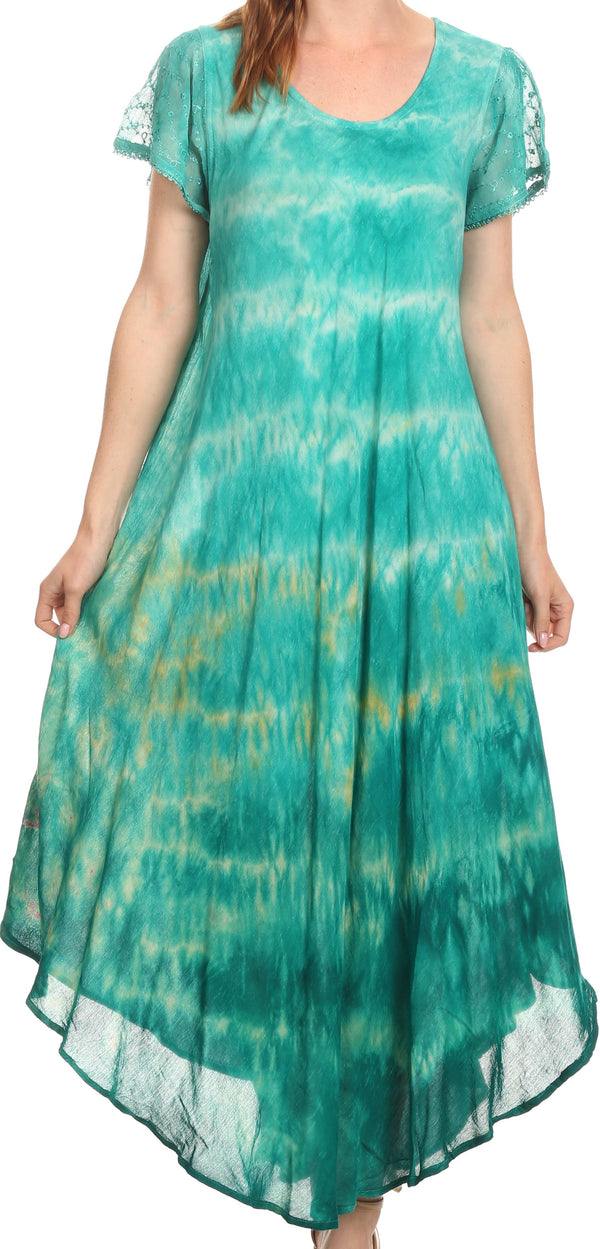 Sakkas Kaylaye Long Tie Dye Ombre Embroidered Cap Sleeve Caftan Dress / Cover Up#color_Aqua