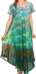 Sakkas Kaylaye Long Tie Dye Ombre Embroidered Cap Sleeve Caftan Dress / Cover Up#color_Green / Purple