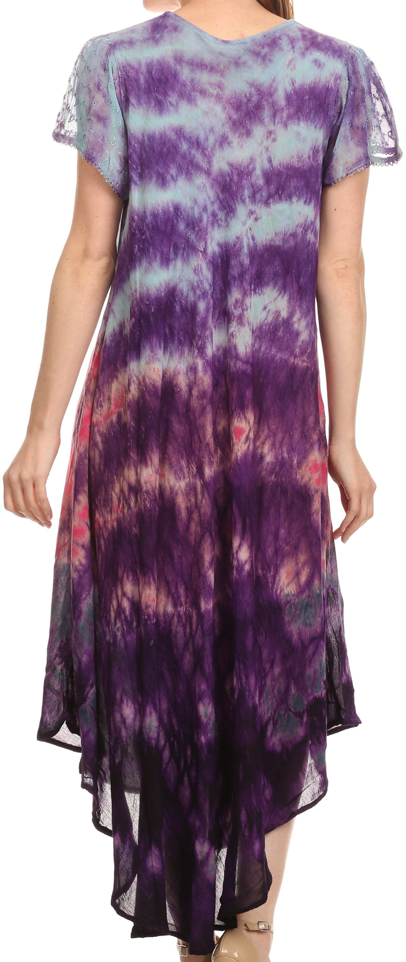 Sakkas Kaylaye Long Tie Dye Ombre Embroidered Cap Sleeve Caftan Dress / Cover Up