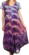 Sakkas Kaylaye Long Tie Dye Ombre Embroidered Cap Sleeve Caftan Dress / Cover Up#color_Purple