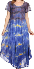 Sakkas Kaylaye Long Tie Dye Ombre Embroidered Cap Sleeve Caftan Dress / Cover Up#color_Violet