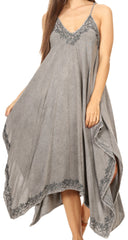 Sakkas Eleonora Stonewashed Embroidered Spaghetti Strap Handkerchief Dress