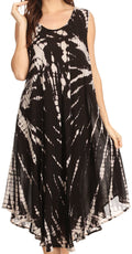 Sakkas Eula Boho Sleeveless Tie Dye Long Tank Caftan Sundress / Beach Cover Up#color_Black / White