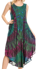 Sakkas Eula Boho Sleeveless Tie Dye Long Tank Caftan Sundress / Beach Cover Up#color_Green