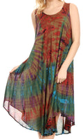 Sakkas Eula Boho Sleeveless Tie Dye Long Tank Caftan Sundress / Beach Cover Up#color_Olive