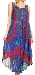 Sakkas Eula Boho Sleeveless Tie Dye Long Tank Caftan Sundress / Beach Cover Up#color_Purple