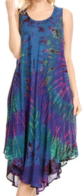 Sakkas Eula Boho Sleeveless Tie Dye Long Tank Caftan Sundress / Beach Cover Up#color_Royal Blue