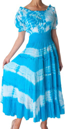 2-Tone Tie Dye Cap Sleeves Smocked Waist Tiered Guazy Long Dress