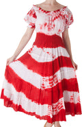 2-Tone Tie Dye Cap Sleeves Smocked Waist Tiered Guazy Long Dress - FINAL SALE