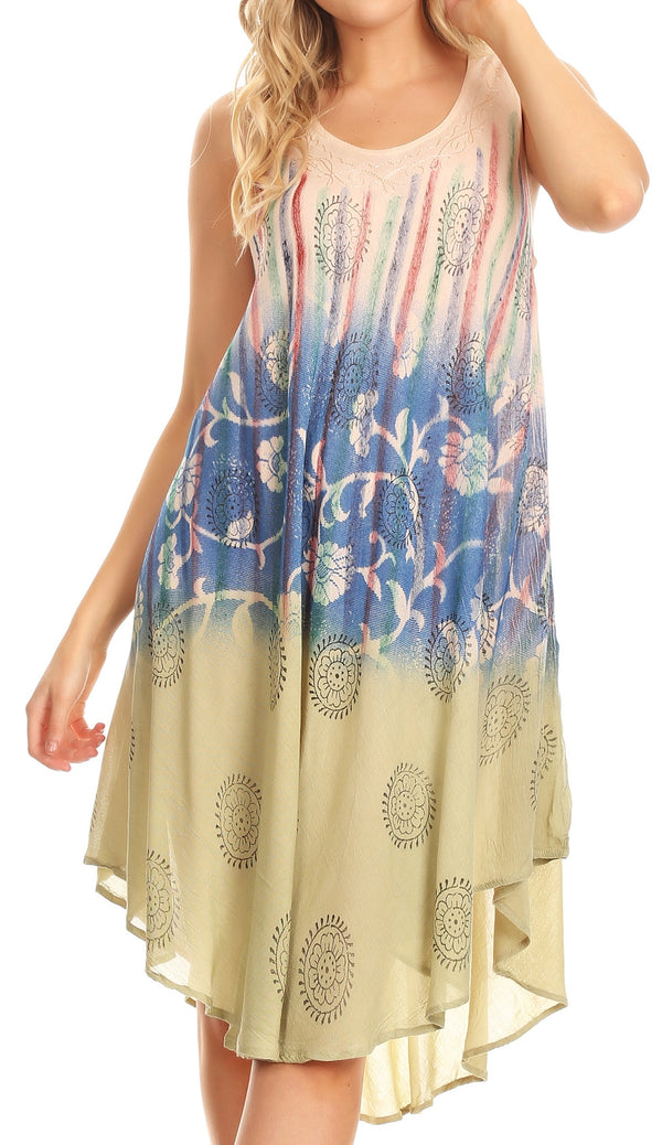 Sakkas Lisa Dip Dyed Floral Batik Short Sleeve Dress / Cover Up#color_Beige