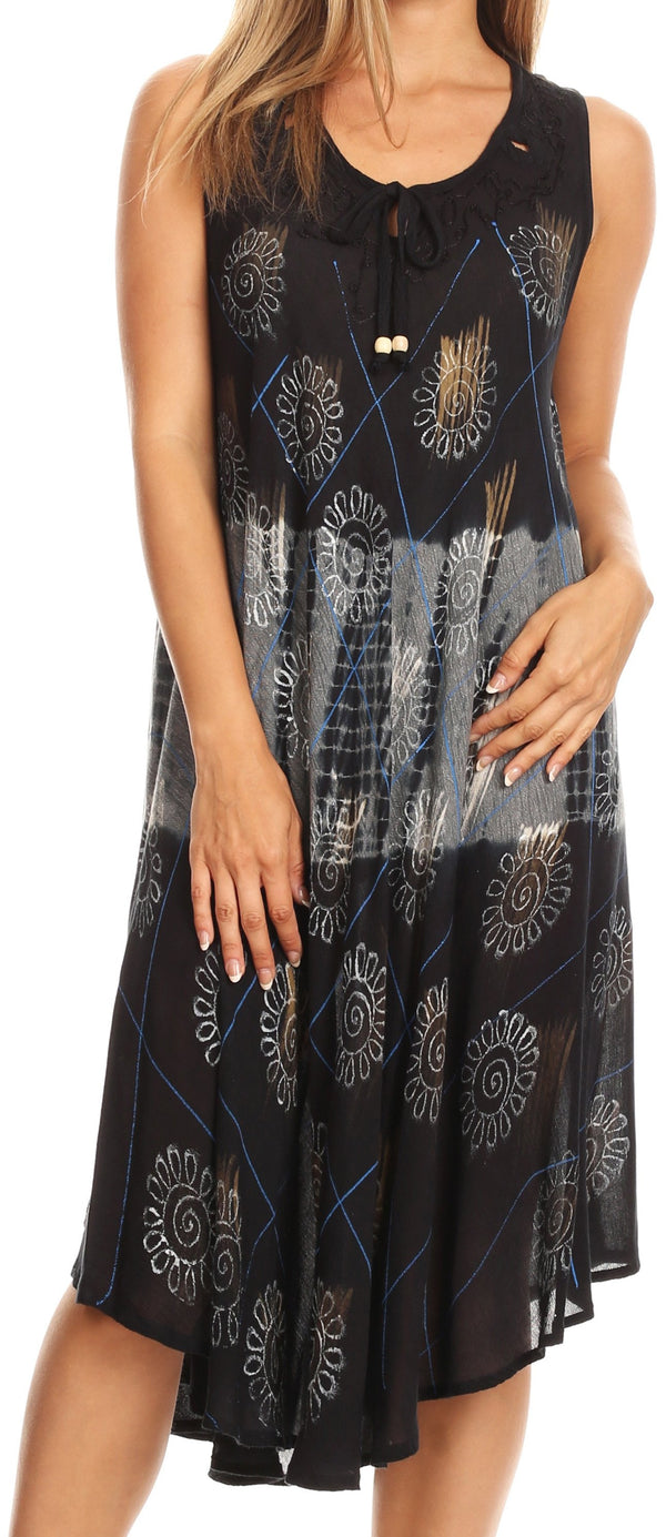 Sakkas Valentina Sleeveless Stonewashed Dress / Cover Up with Embroidery#color_Black