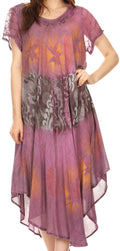 Sakkas Laramie Short Sleeve Stonewashed Ethnic Print Dress with Embroidery#color_Fuschia