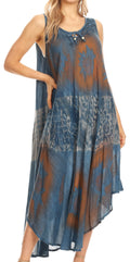 Sakkas Laramie Short Sleeve Stonewashed Ethnic Print Dress with Embroidery#color_Blue
