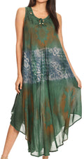 Sakkas Laramie Short Sleeve Stonewashed Ethnic Print Dress with Embroidery#color_Dark Green