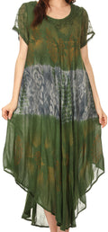 Sakkas Laramie Short Sleeve Stonewashed Ethnic Print Dress with Embroidery#color_Green