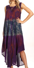 Sakkas Laramie Short Sleeve Stonewashed Ethnic Print Dress with Embroidery#color_Purple
